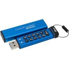 """USB Flash disk """"DT2000"""", 8GB, modrá, USB 3.0, uzamykatelný, s klávesnicí, KINGSTON"""