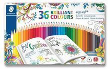 """Barevné pastelky """"Ergo Soft"""", sada 36 různých barev, trojúhelníkový tvar, STAEDTLER"""