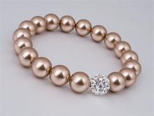 Náramek s perlami Swarovski, zlatá,