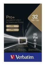 "Paměťová karta ""PRO+"", microSDHC, 32GB, C10/U3, 90/80 MB/s, adaptér, VERBATIM"
