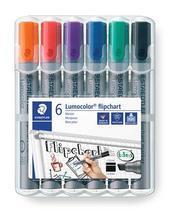 "Popisovač na flipchart ""Lumocolor 356 B"", sada, 6 barev, klínový hrot, STAEDTLER"