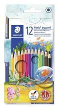 Akvarelové pastelky, se štětcem, 12 barev, sada, STAEDTLER