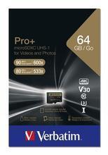 """Paměťová karta """"PRO+"""", microSDXC, 64GB, CL10/U3, 90/80 MB/s, adaptér, VERBATIM"""