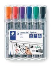 """Popisovač na flipchart """"Lumocolor 356"""", sada, 6 barev, kuželový hrot, STAEDTLER"""