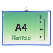 Závěsná prezentační kapsa, modrá, A4, kovový rámeček, horizontální, TARIFOLD