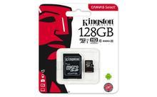 """Paměťová karta microSDXC """"Canvas Select"""", 128GB, Class 10/U1, 80/10 MB/s,adapter, KINGSTON"""