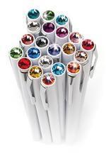 Kuličkové pero s krystaly SWAROVSKI®, magnetické, bílé, barva krystalu: sv.červená