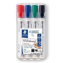 """Popisovač na bílou tabuli """"Lumocolor 351 B"""", sada, 4 barvy, klínový hrot, STAEDTLER"""