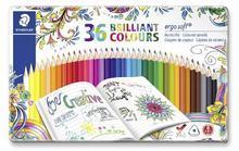 """Barevné pastelky """"Ergo Soft"""", 36 barev, trojúhelníkový tvar, kovový box, STAEDTLER"""