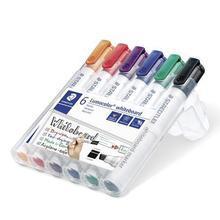 """Popisovač na bílou tabuli """"Lumocolor 351 B"""", sada, 6 barev, klínový hrot, STAEDTLER"""