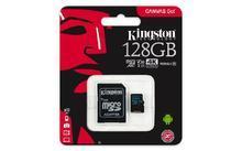 "Paměťová karta microSDXC ""Canvas Go"", 128GB, Class 10/U3, 90/45MB/s, adapter, KINGSTON"