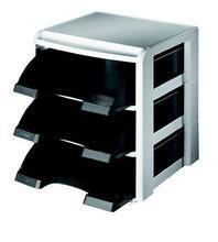 """Stohovací systém """"Plus"""", černá, 3 zásuvky, plast, LEITZ"""