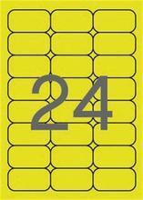 Etikety, zaoblené rohy, fluorescentní žlutá,  64x33,9 mm, 480 ks/bal., APLI