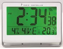 """Nástěnné hodiny """"Horlcdneo"""", radio-control, LCD displej, 22x20 cm, ALBA, stříbrné"""