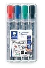 "Popisovač na flipchart ""Lumocolor 356 B"", sada, 4 barvy, klínový hrot, STAEDTLER"