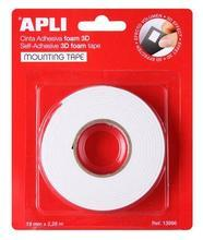 Lepící pěnová páska, 3D, oboustranná, APLI, 19 mm x 2,28 m, bílá