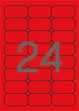 Etikety, zaoblené rohy, fluorescentní červená,  64x33,9 mm, 480 ks/bal., APLI