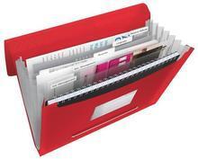 Aktovka s držadlem a 6 přihrádkami, Vivida červená, A4, plast, ESSELTE