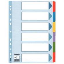 """Zesílené rejstříky """"Mylar"""", mix barev, karton, A4, 6 dílů, ESSELTE"""