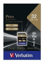 """Paměťová karta """"PRO+"""", SDHC, 32GB, CL10/U3, 90/80MB/sec, VERBATIM"""