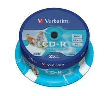 CD-R 700MB, 80min., 52x, Printable, Verbatim, 25-cake