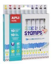 """Fixy """"Duo Stamps"""", mix barev a motivů, 10 ks, na razítkování, APLI"""