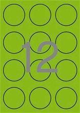 Etikety, kruhové, fluorescentní zelená, průměr 60mm, 240 ks/bal., APLI
