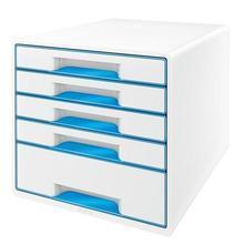 """Zásuvkový box """"Wow Cube"""", bílá/modrá, 5 zásuvek, LEITZ"""