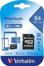 """Paměťová karta """"Premium"""", microSDXC, 64GB, CL10/U1, 70/10 MB/s, adaptér, VERBATIM"""