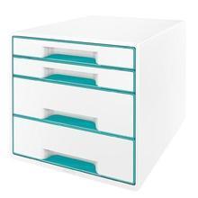 """Zásuvkový box """"Wow Cube"""", bílá/ledově modrá, 4 zásuvky, LEITZ"""