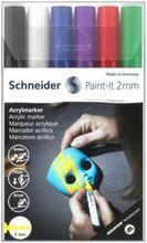 """120195 Akrylové popisovače """"Paint-It 310"""", sada 6 barev, 2 mm, SCHNEIDER"""
