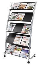 Podlahový stojan na katalogy, mobilní, 5 kapes, šedo/černý, ALBA