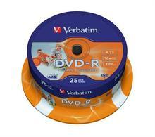 DVD-R 4,7GB, 16x, Printable, Verbatim, 25-cake