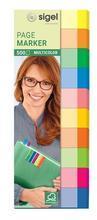 """Samolepicí záložky, 10y50 lístků, 15x50 mm, SIGEL """"Transparent"""", mix barev"""
