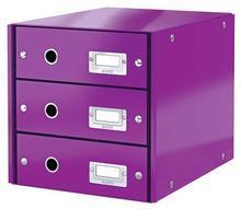 """Zásuvkový box """"Click&Store"""", fialová, 3 zásuvky, lesklý, LEITZ"""