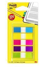 Samolepicí záložky, mix neonových barev, 12x43 mm, 5x20 listů, 3M POSTIT