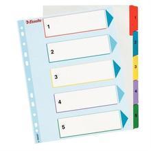 """Zesílené rejstříky """"Standard"""", popisovatelná titulní str., mix barev, karton, A4 Maxi, 1-5, E"""