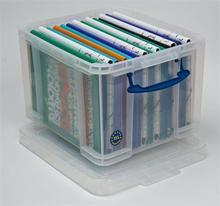 Box na skladování závěsných složek a pořadačů, plastový, s víkem, 35 l, průhledný, REALLY USEFUL