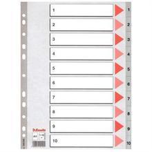 Rejstříky, šedá, A4, plast, 1-10, ESSELTE