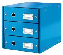"""Zásuvkový box """"Click&Store"""", modrá, 3 zásuvky, lesklý, LEITZ"""