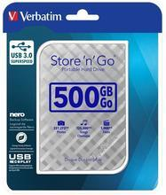 "2,5"" HDD (hard-drive), 500GB, USB 3.0, VERBATIM ""Store 'n' Go, stříbrná"
