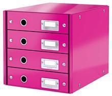"""Zásuvkový box """"Click&Store"""", růžová, 4 zásuvky, lesklý, LEITZ"""