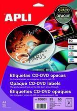 """Etikety na CD/DVD """"Mega"""", matné, A4, vnější průměr 114mm, vnitřní průměr 18mm, APLI"""