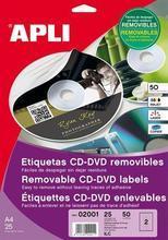 Etikety na CD/DVD, matné, A4, snímatelné, APLI