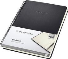 """Spirálový blok """"Conceptum"""", exkluzivní, černá, A5, čtverečkovaný, 80 listů, SIGEL"""