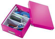 """Organizační krabice """"Click&Store"""", růžová, velikost S, PP karton, lesklá, LEITZ - 4/6"""