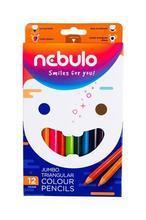 Barevné pastelky, sada 12ks barev, jumbo, trojhranné, NEBULO