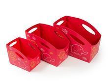 Sada dětských úložných boxů (červená), 3ks, PRIMOBAL