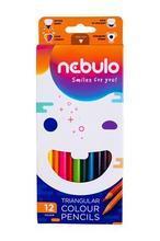 Barevné pastelky, trojhranné, sada, 12 různých barev, NEBULO
