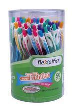 Gelové pero, 0,35 mm, stiskací mechanismus, tělo pera v různých barvách, 50ks, FLEXOFFICE...